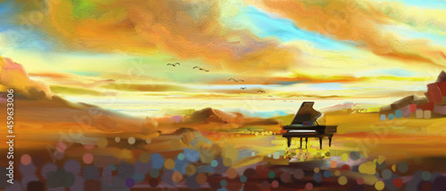 Fotografie, Obraz Fantasy the piano concert classic and emotion surreal in desert.