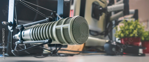 Canvas Professional Banner: microphone in radio station studio