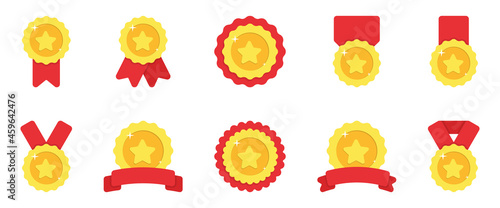Tela Set of Gold Medals with Red Ribbon and Stars on White Background
