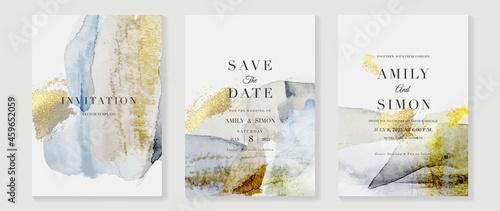 Billede på lærred Elegant abstract watercolor wedding invitations vector set