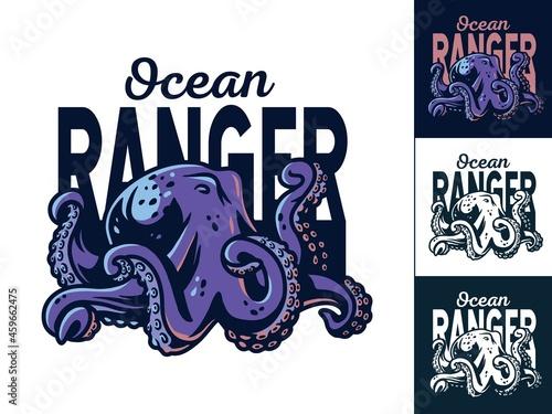 Canvas Octopus creepy monster or kraken