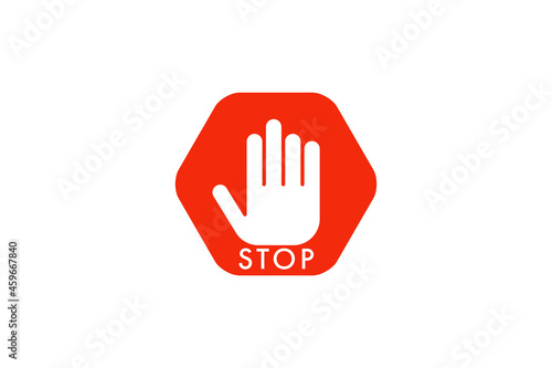 Fototapeta Simple red stop roadsign with big hand symbol or icon vector illustration