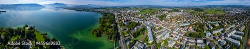 Fotografering Aerial view of the city Cham in Switzerland on a sunny day in summer