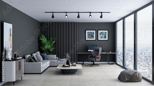 Foto Stylish home office room, photorealistic 3D Illustration of the interior, suitable for using in video conference and as a zoom background