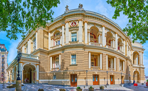 Obraz na plátně Panorama of the Opera House, Odessa, Ukraine