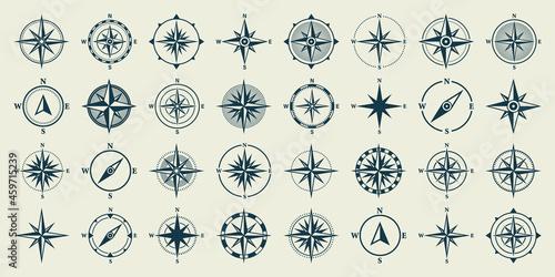 Fényképezés Vintage marine wind rose, nautical chart