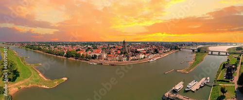 Billede på lærred Aerial panorama from the city Deventer in the Netherlands