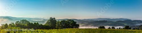 Canvastavla Panoramaansicht des Bayrischen Waldes von Perlesreut