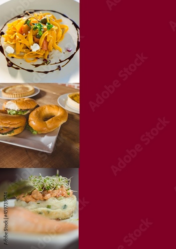 Composition of close up of fresh breakfast on red background