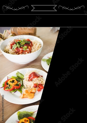 Composition of close up of fresh pasta dishes on black background