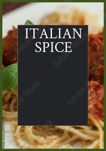 Composition of italian spice text over fresh spaghetti