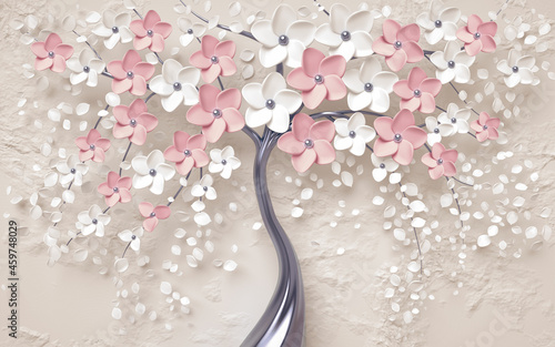 Canvas 3d picture of a tree with pink flowers background Wallpaper