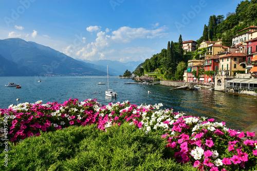 Fototapeta the beautiful town of Varenna on Lake Como in Italy