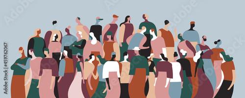 Obraz na plátne Gruppo di persone della comunità che parlano e interagiscono tra di loro