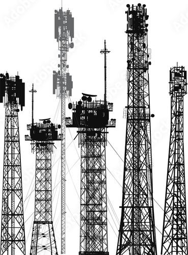 Billede på lærred set of six antenna silhouettes on white background