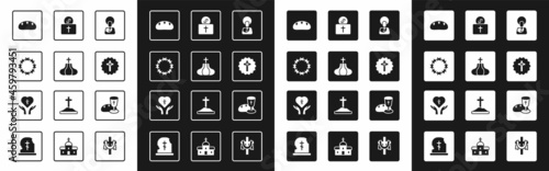 Canvas Set Jesus Christ, Church tower, Crown of thorns, Bread loaf, Christian cross, Donation for church, Goblet and bread and Religious in heart icon