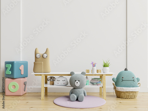 Mockup of wall in a children's room with doll on light white backdrop Fototapet