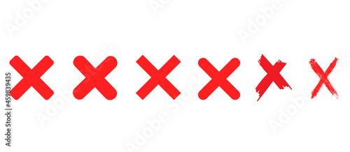 Vászonkép Red cross x vector icons set. No wrong delete symbol