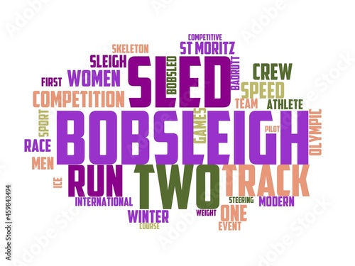 Canvas Print bobsleigh wordcloud concept, wordart, bobsleigh,winter,ice,sport,competition