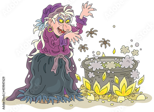 Obraz na plátne Angry hag whispering diabolical spells and preparing a black magic poison with s