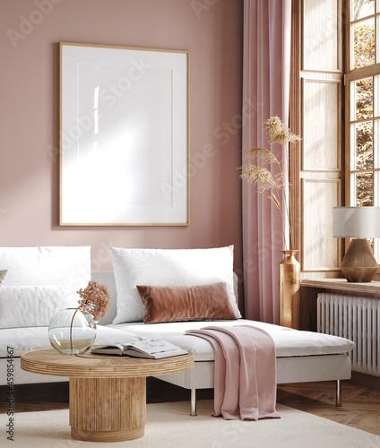 Home mock up, modern living room interior background, 3d render
