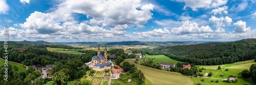 Foto Aerial view, Basilica Vierzehnheiligen, Upper Main Valley, Franconia, Bavaria, G