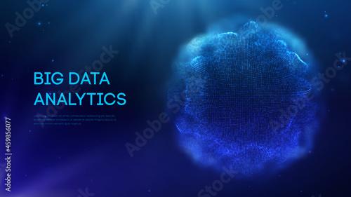 Billede på lærred Blue sphere shield on dark background colorful data
