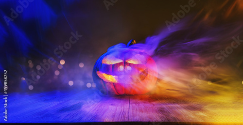Fotografie, Obraz Halloween magic pumpkin of spells portrait making witchcraft