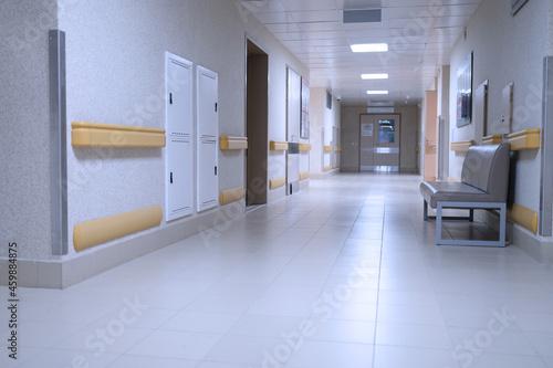 Obraz na plátně Empty corridor in modern medical clinic background