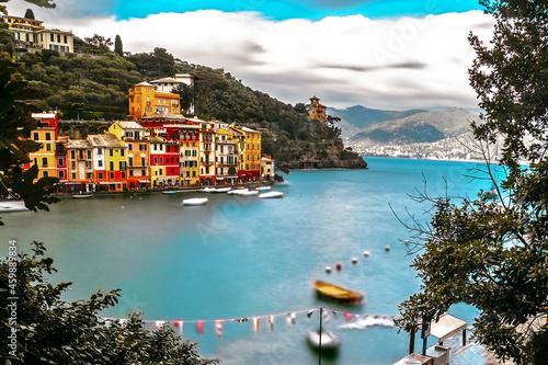 Obraz na plátně Portofino village and harbor long exposure panorama, Liguria