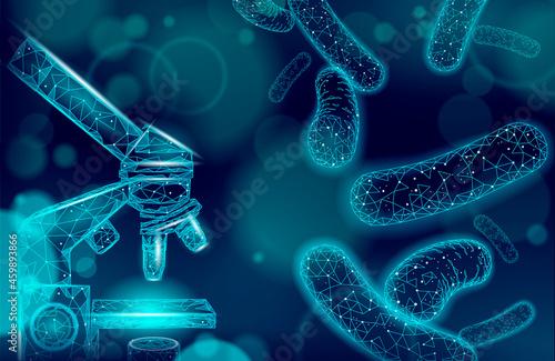 Obraz na plátně Bacteria microscope 3D low poly render probiotics