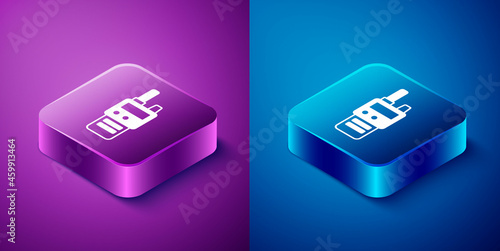 Fotografering Isometric Walkie talkie icon isolated on blue and purple background