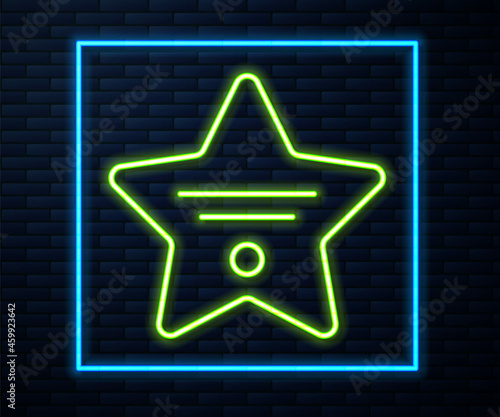 Canvastavla Glowing neon line Walk of fame star on celebrity boulevard icon isolated on brick wall background