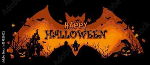 Fotografering Halloween Illustration on a bat background