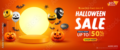 Fotografie, Obraz Halloween Sale Promotion Poster or banner with Halloween Pumpkin, Ghost Balloons and Product podium scene