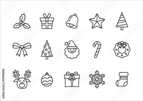 Canvas-taulu クリスマスのイラスト デザイン用のアイコン 線画