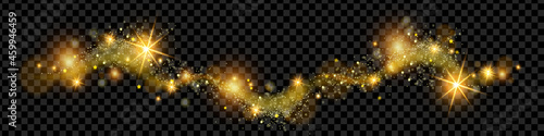 Photo Christmas golden magic dust, shine glitter wave on transparent background, holiday sparkling stars