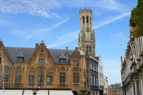 Fényképezés view from de burg to the famous belfry bell tower as a symbol of the city, Bruge