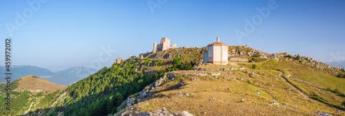 Castle ruins and small chapel at Rocca Calascio italian travel destination, landmark in the Gran Sasso National Park, Abruzzo, Italy Fototapet
