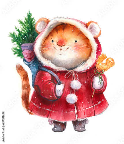 Fotografie, Obraz Watercolor illustration, new year christmas tiger character, tiger cub with gift