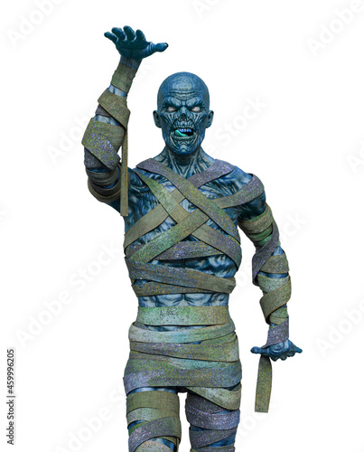 Canvastavla mummy is doing an egyptian move on white background front close up view