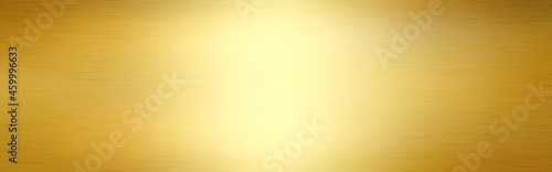 Wall mural Gold wide texture. Luxury shining metal. Realistic steel for advertising. Golden foil with light effect. Bright gold background. Vector illustration