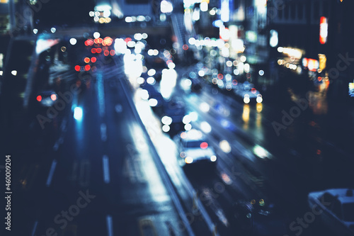 Fotografie, Obraz 夜の道路 カラフルな丸ボケ