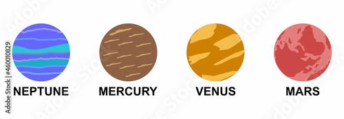 Canvastavla planet icon set, solar system icon set vector symbol flat design