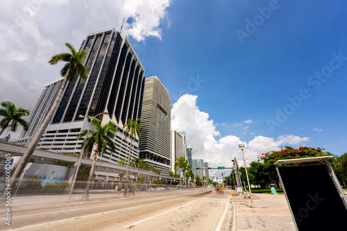 Biscayne Boulevard street view Downtown Miami Fotobehang
