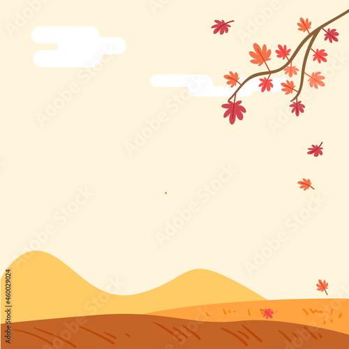 가을배경 단풍나무와 언덕이 있는 가을 풍경. 정사각 배경 Fototapete