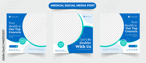 Set of medical healthcare service social media post feed for hospital doctor clinic and dentist health business marketing ads banner template