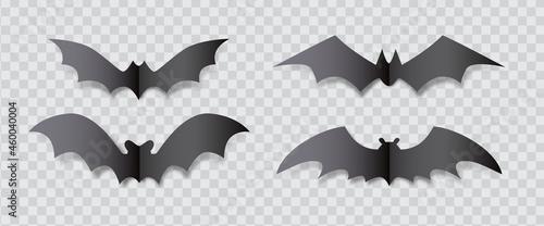 Canvastavla Paper craft vampire bat silhouette design isolated on transparent background