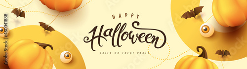 Leinwand Poster Happy Halloween banner or party invitation background with pumpkins Festive Elem