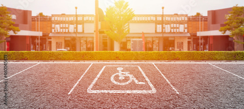 Canvastavla Free space Parking spaces reserved for the disabled in the outdoor lot for the p
